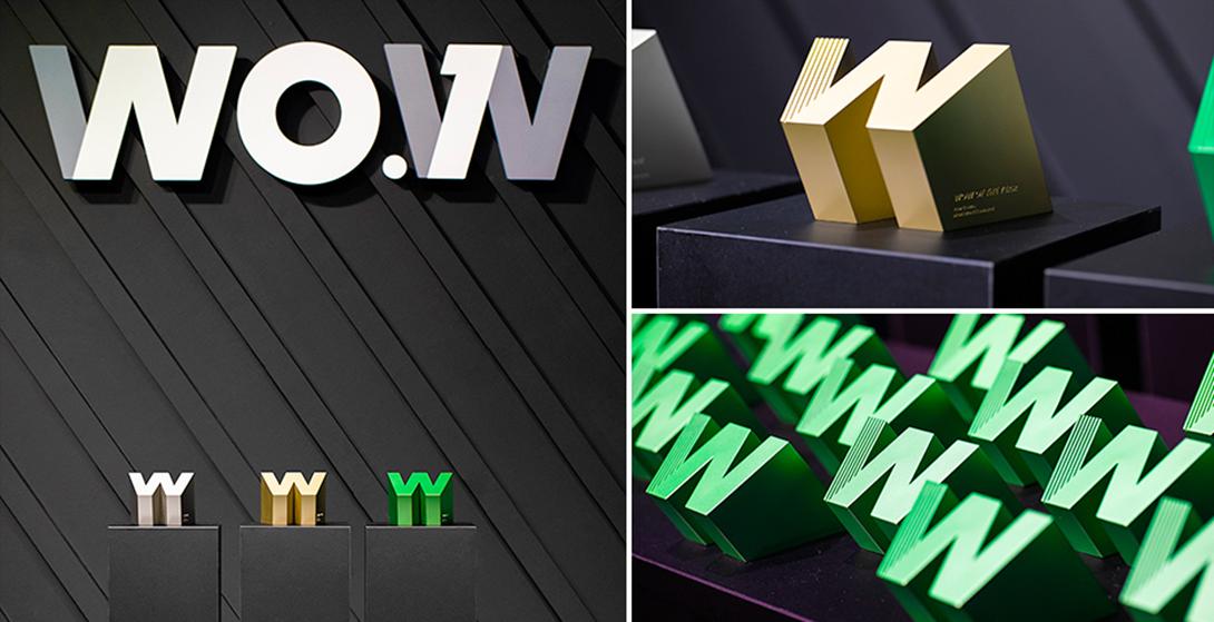 ▶ 금색의 WOW OF THE YEAR, 은색의 BEST WOW, 녹색의 WOW WINNER와 WOW Finalist까지 소유욕을 불러 일으키는 멋진 트로피가 행사장에 전시된 모습입니다.